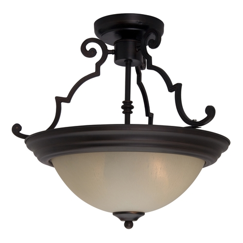 Maxim Lighting Semi-Flushmount Light with Beige / Cream Glass in Oil Rubbed Bronze Finish 5843WSOI