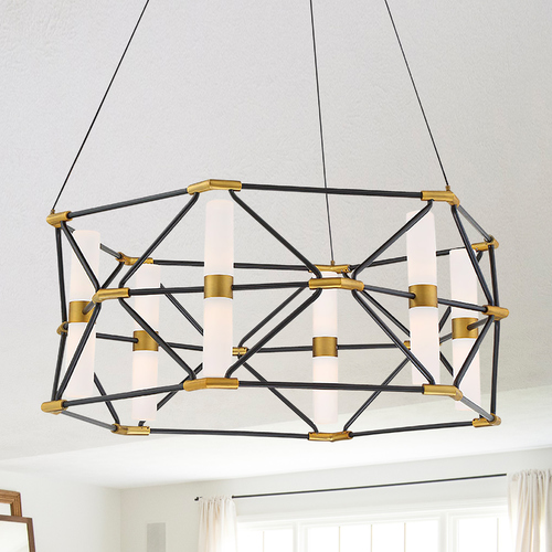 Modern Forms by WAC Lighting Modern Forms Labyrinth Black & Aged Brass LED Pendant Light 3000K 1269LM PD-73926-BK/AB