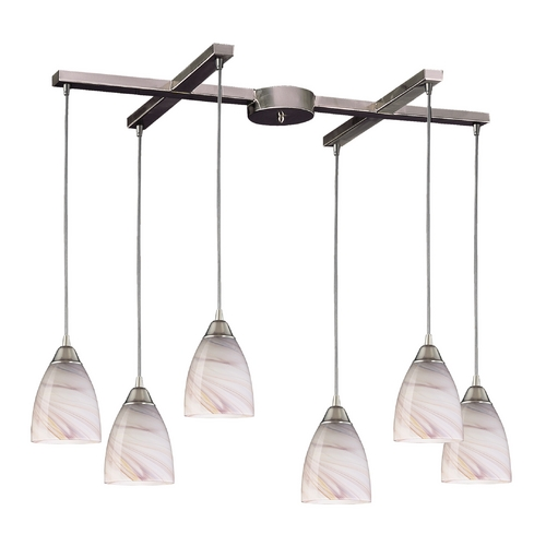Elk Lighting Modern Multi-Light Pendant Light with Art Glass and 6-Lights 527-6CR