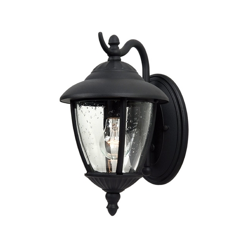 Sea Gull Lighting Outdoor Wall Light with Clear Glass in Black Finish 84069-12