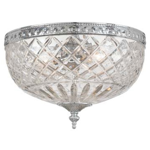 Crystorama Lighting Crystal Flushmount Light with Clear Glass in Polished Chrome Finish 117-12-CH