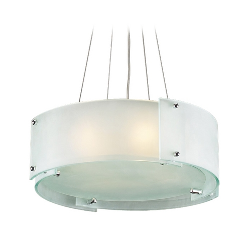 PLC Lighting Modern Drum Pendant Light with White Glass in Polished Chrome Finish 7284 PC