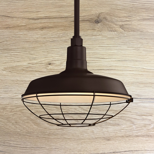 Recesso Lighting by Dolan Designs Bronze Pendant Barn Light with 14-Inch Caged Shade BL-STM-BZ/BL-SH14-BZ/BL-CG14BZ