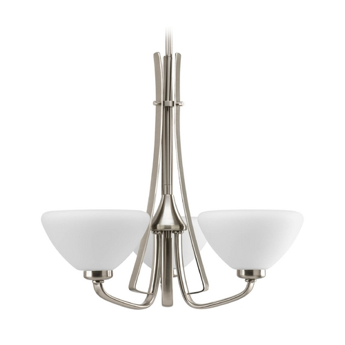 Progress Lighting Progress Modern Chandelier with White Glass in Brushed Nickel Finish P4641-09