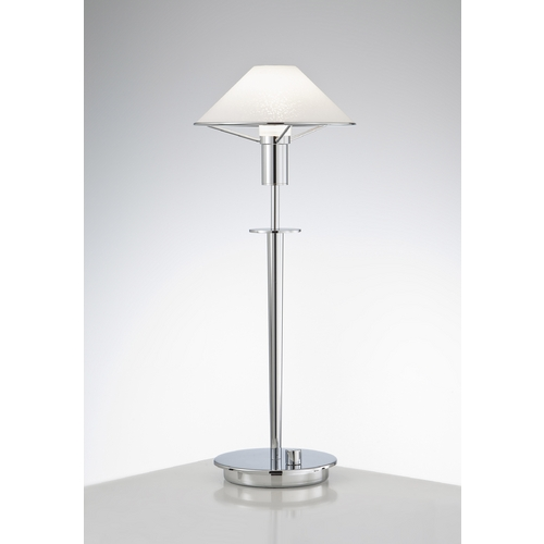 Holtkoetter Lighting Holtkoetter Modern Table Lamp with White Glass in Chrome Finish 6514 CH SW