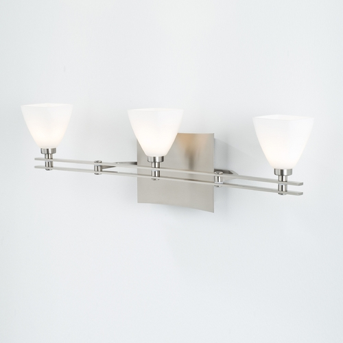 Holtkoetter Lighting Holtkoetter Modern Bathroom Light with White Glass in Satin Nickel Finish 5583 SN G5015