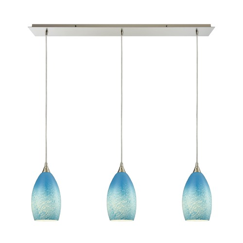 Elk Lighting Elk Lighting Earth Satin Nickel Multi-Light Pendant with Bowl / Dome Shade 10510/3LP-SKY