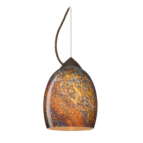 Besa Lighting Besa Lighting Lucia Bronze LED Mini-Pendant Light with Bell Shade 1KX-1697CE-LED-BR