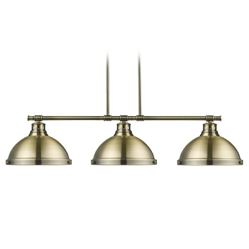 Golden Lighting Golden Lighting Duncan Ab Aged Brass Billiard Light with Bowl / Dome Shade 3602-3LP AB-AB