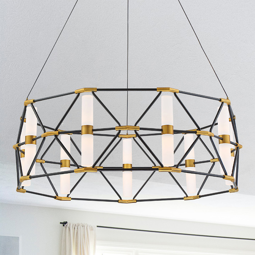 Modern Forms by WAC Lighting Modern Forms Labyrinth Black & Aged Brass LED Pendant Light 3000K 1836LM PD-73932-BK/AB