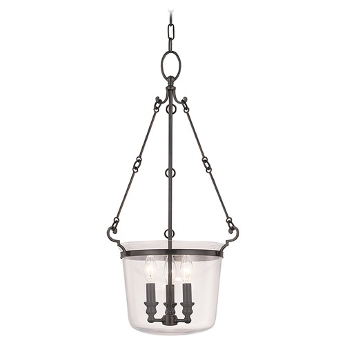 Hudson Valley Lighting Drum Pendant Light with Clear Glass in Old Bronze Finish 131-OB