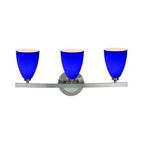 Access Lighting Modern Bathroom Light with Blue Glass in Matte Chrome Finish 63813-19-MC/COB