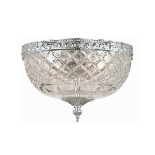 Crystorama Lighting Crystal Flushmount Light with Clear Glass in Polished Chrome Finish 117-8-CH