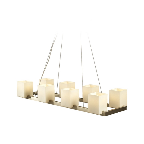 PLC Lighting Modern Island Light with White Glass in Satin Nickel Finish 7278 SN