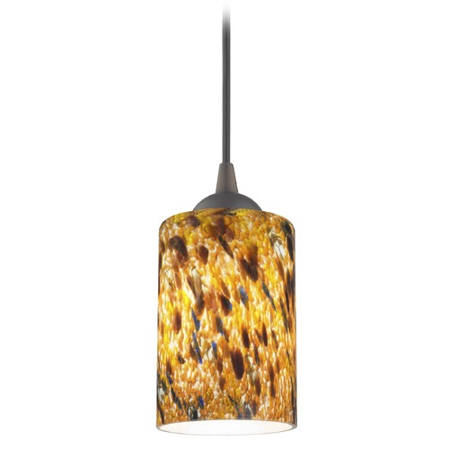 Design Classics Lighting Bronze Mini-Pendant Light with Cylindrical Shade 582-220 GL1005C