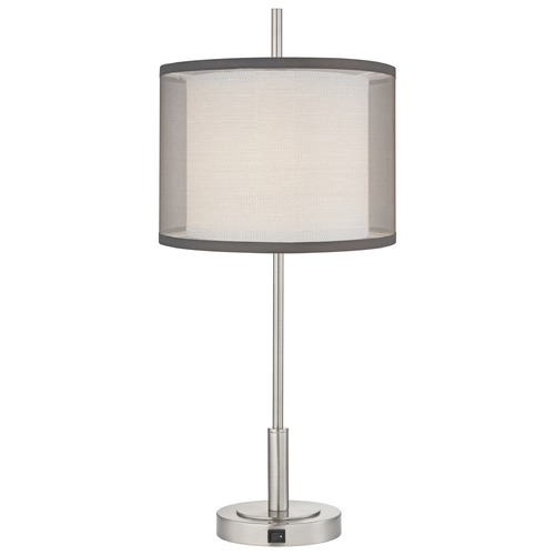 Design Classics Lighting Satin Nickel Table Lamp with Drum Shade DCL 6766-1-09/ SH7605