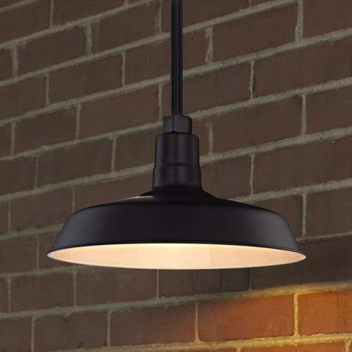 Recesso Lighting by Dolan Designs Black Pendant Barn Light with 14