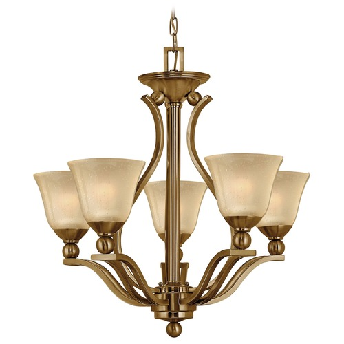 Hinkley Lighting Chandelier with Amber Glass in Brushed Bronze Finish 4655BR