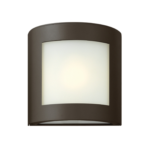 Hinkley Lighting Modern Outdoor Wall Light with White Glass in Bronze Finish 2020BZ