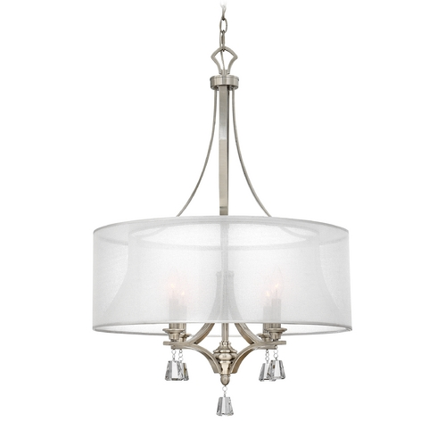 Frederick Ramond Modern Drum Pendant Light with White Shade in Brushed Nickel Finish FR45604BNI