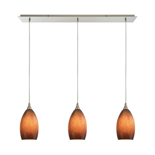 Elk Lighting Elk Lighting Earth Satin Nickel Multi-Light Pendant with Bowl / Dome Shade 10510/3LP-SND