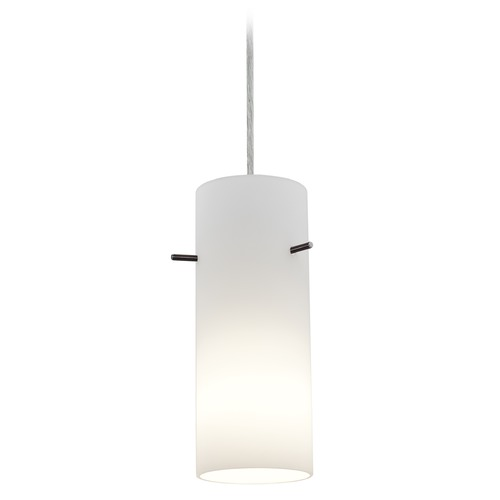 Access Lighting Access Lighting Cylinder Brushed Steel LED Mini-Pendant Light with Cylindrical Shade 28030-3C-BS/OPL