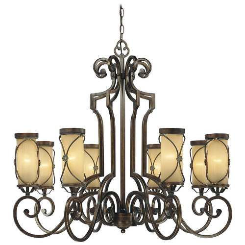 Minka Lavery Chandelier with Beige / Cream Glass in Deep Flax Bronze Finish 4238-288