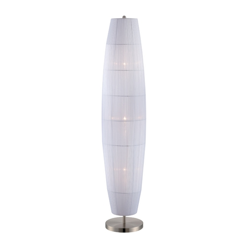 Lite Source Lighting Lite Source Lighting Parvati Polished Steel Floor Lamp with Oval Shade LS-81270PS/WHT