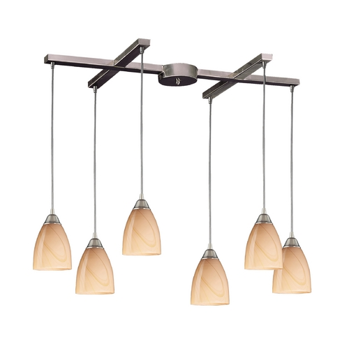 Elk Lighting Modern Multi-Light Pendant Light with Art Glass and 6-Lights 527-6SY