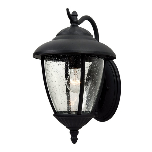 Sea Gull Lighting Outdoor Wall Light with Clear Glass in Black Finish 84070-12