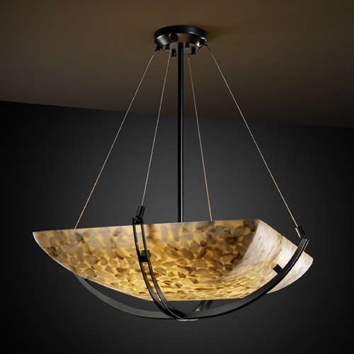 Justice Design Group Justice Design Group Alabaster Rocks! Collection Pendant Light ALR-9722-25-MBLK
