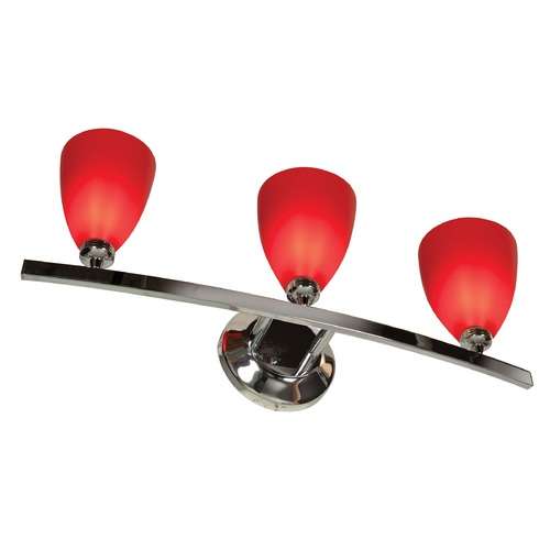 Access Lighting Modern Bathroom Light with Red Glass in Chrome Finish 63813-19-CH/RED