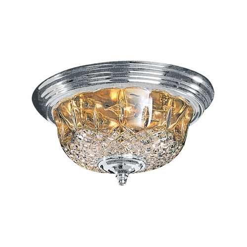 Crystorama Lighting Crystal Flushmount Light with Clear Glass in Polished Chrome Finish 55-F-CH