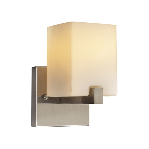 PLC Lighting Modern Sconce Wall Light with White Glass in Satin Nickel Finish 7271 SN