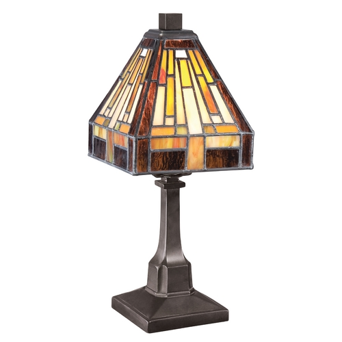 Quoizel Lighting Accent Lamp with Art Glass in Bronze Patina Finish TF1018TVB