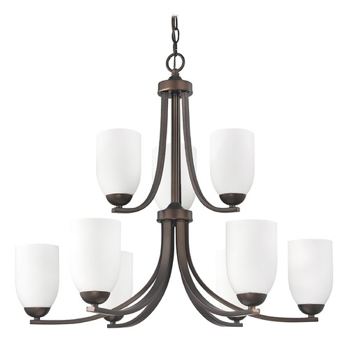 Design Classics Lighting Contemporary Bronze Chandelier and Satin White Glass Shades 586-220 GL1028D
