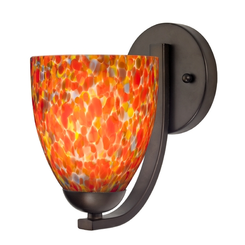 Design Classics Lighting Sconce with Art Glass in Bronze Finish 585-220 GL1012MB