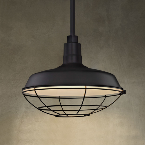 Recesso Lighting by Dolan Designs Black Pendant Barn Light with 14-Inch Caged Shade BL-STM-BLK/BL-SH14-BLK/BL-CG14BLK