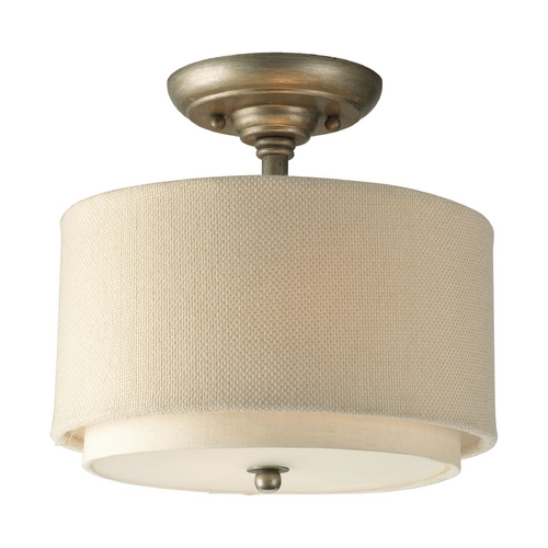 Progress Lighting Progress Semi-Flushmount Ceiling Light in Silver Ridge Finish P3886-134