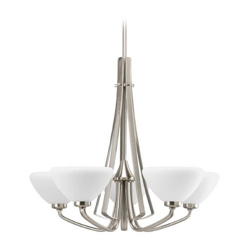 Progress Lighting Progress Modern Chandelier with White Glass in Brushed Nickel Finish P4642-09