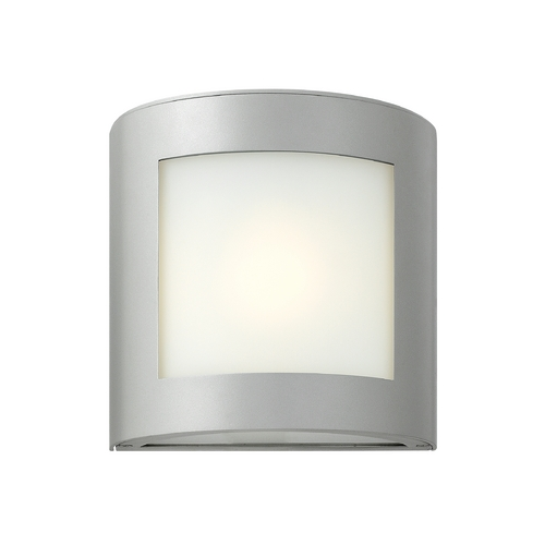 Hinkley Lighting Modern Outdoor Wall Light with White Glass in Titanium Finish 2020TT