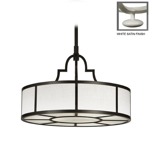 Fine Art Lamps Fine Art Lamps Black + White Story White Satin Lacquer Pendant Light with Drum Shade 438540-5ST
