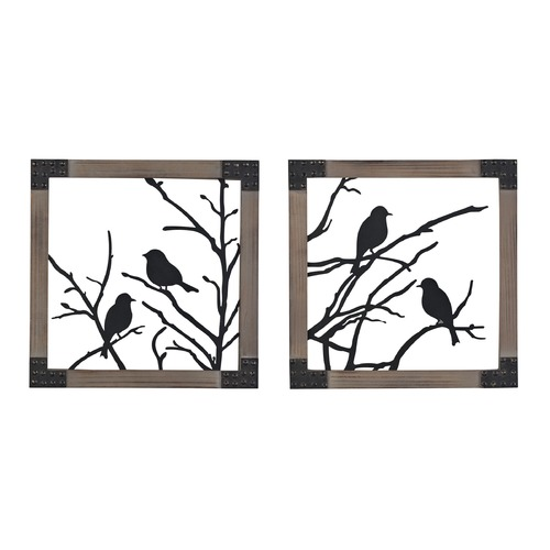 Sterling Lighting Ollerton-Set Of 2 Birds On A Branch In Natural Wood Tone Frame 137-018/S2