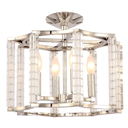Crystorama Lighting Crystorama Lighting Carson Polished Nickel Semi-Flushmount Light 8854-PN_CEILING
