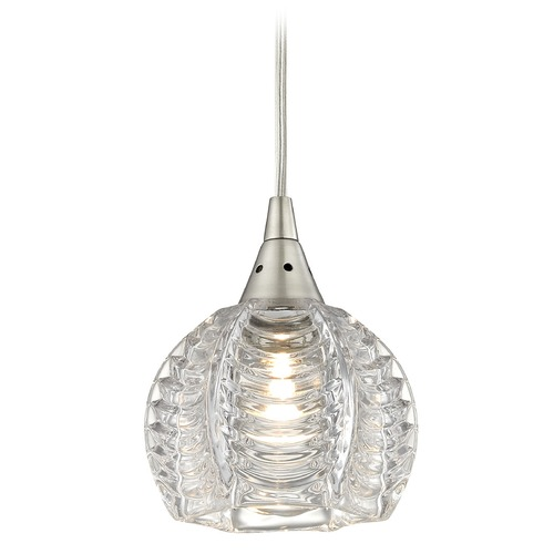 Elk Lighting Elk Lighting Kersey Satin Nickel Mini-Pendant Light with Bowl / Dome Shade 10455/1