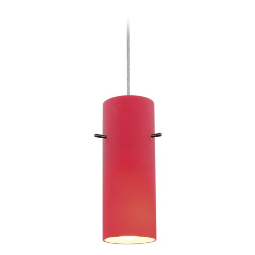 Access Lighting Access Lighting Cylinder Brushed Steel LED Mini-Pendant Light with Cylindrical Shade 28030-3C-BS/RED