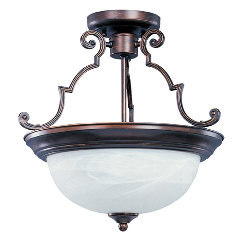 Maxim Lighting Semi-Flushmount Light with White Glass in Oil Rubbed Bronze Finish 5844MROI