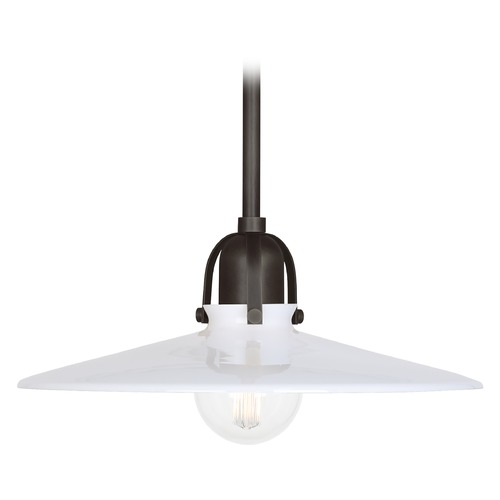 Robert Abbey Lighting Robert Abbey Lighting Rico Espinet Arial Deep Patina Bronze Pendant Light with Coolie Shade Z615