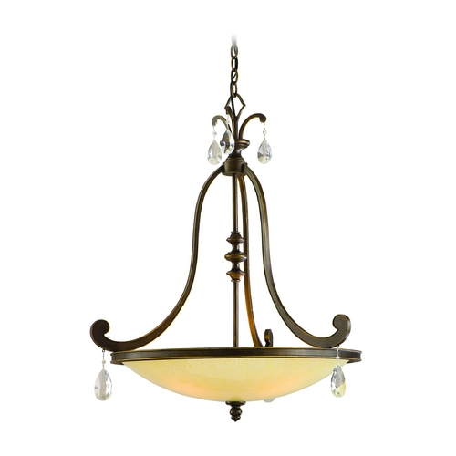 Corbett Lighting Pendant Light with Beige / Cream Glass in Classic Bronze Finish 86-74
