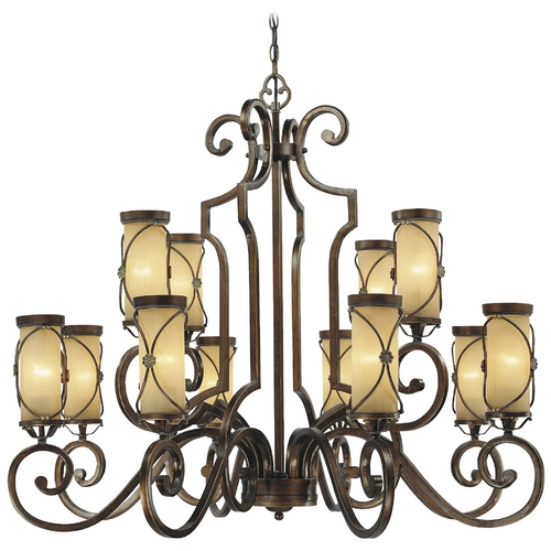 Minka Lavery Chandelier with Beige / Cream Glass in Deep Fax Bronze Finish 4239-288